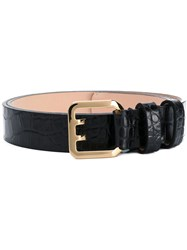 Dsquared2 Crocodile Embossed Belt Women Leather 75 Black