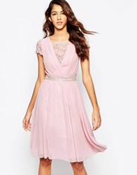 Laced In Love Skate Dress With Lace Overlay Pink