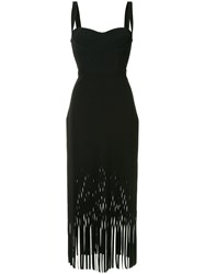 Dion Lee Fringed Sweetheart Dress Black