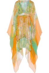 Emilio Pucci Printed Silk Georgette Kaftan Orange