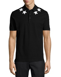 Givenchy Star Print Knit Polo Shirt Black