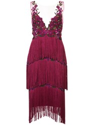 Marchesa Notte Embroidered Fringed Dress Pink And Purple