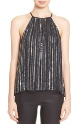 Parker 'Current' Embellished Strappy Halter Top Black