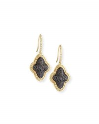Armenta Old World Cluster Saddle Earrings With White And Champagne Diamonds And Black Sapphires