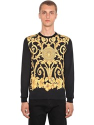 Versace Gold Hibiscus Printed Silk Sweater Black Gold