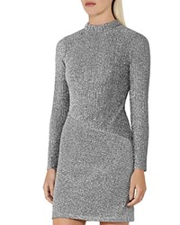 Reiss Candy High Neck Sparkle Dress Silver