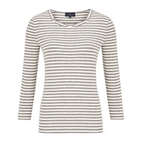 Viyella Twist Neck Stripe Top Expresso