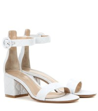 Gianvito Rossi Versilia Driver Mid Quilted Leather Sandals White