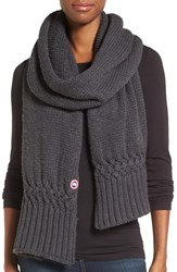 Canada Goose Women's Knit Merino Wool Scarf Graphite