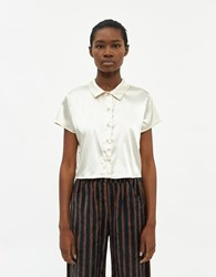 Which We Want Isla Cropped Button Up Shirt In Ivory Size Small Spandex