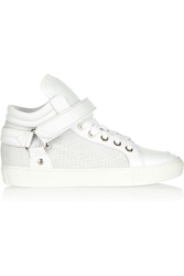 Maje Gabriel Snake Effect Suede And Leather Sneakers White