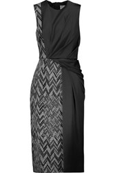 Jason Wu Paneled Herringbone And Satin Midi Dress Black