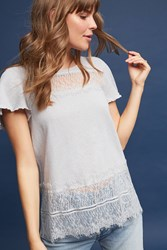 Anthropologie Linen And Lace Tee Grey