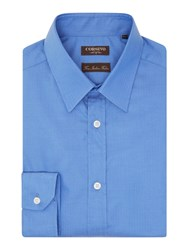 Corsivo Men's Tronto Split Herringbone Shirt Cornflower