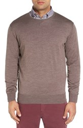 Peter Millar Men's Crewneck Merino Wool And Silk Sweater Foxtail Taupe