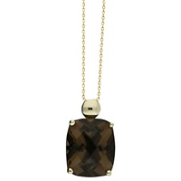 London Road 9Ct Gold Smokey Quartz Pendant Necklace Gold