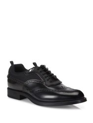 Prada Leather And Mesh Wingtip Brogue Oxfords Black