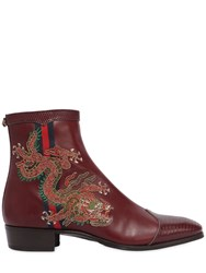 Gucci Plata Embroidered Leather Ankle Boots Bordeaux