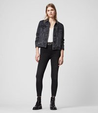 Allsaints Phoenix Ankle Ultra High Rise Superstretch Shaping Skinny Jeans Soft Black