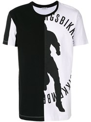 Dirk Bikkembergs Asymmetric Print T Shirt Cotton Xl Black