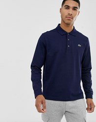 Lacoste Sport Logo Long Sleeve Polo In Navy