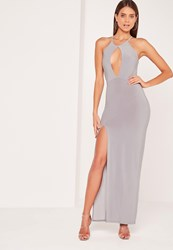 Missguided Keyhole Maxi Dress Grey Grey