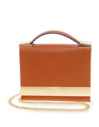 Brian Atwood Ava Leather Box Shoulder Bag Saddle