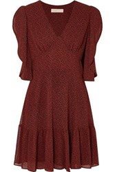 Michael Michael Kors Printed Crepe Mini Dress Burgundy