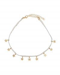 Berry Jewelry Faux Leather Choker Necklace W Star Charms Ivory