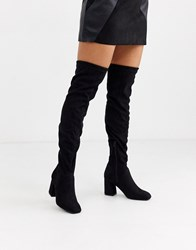 Pimkie Faux Suede Knee High Boots In Black