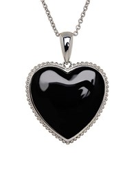 Lord And Taylor Onyx Sterling Silver Heart Pendant Necklace