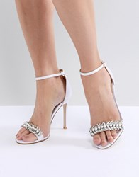 Be Mine Bridal Penny Ivory Satin Embellished Barely There Sandals Ivory Satin White