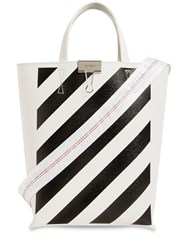 Off White Diag Printed Leather Tote Bag White