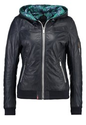 Oakwood Leather Jacket Navy Blue Mottled Dark Blue