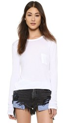 Alexander Wang T By Classic Long Sleeve Tee With Pocket White