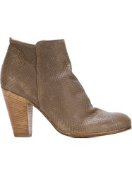 Officine Creative Snake Skin Effect Ankle Boots Brown
