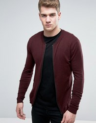 Asos Knitted Cotton Bomber Jacket In Muscle Fit Rock Burgundy Purple