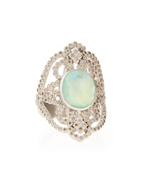 Armenta New World Chrysoprase Diamond Scroll Ring