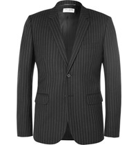 Saint Laurent Black Slim Fit Leather Trimmed Pinstriped Wool Blazer Black