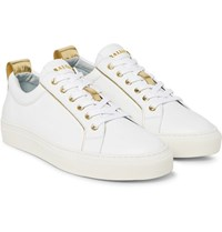 Balmain Metallic Trimmed Leather Sneakers White