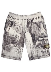 Stone Island Corrosion Distressed Cotton Shorts Black