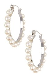 4 5Mm White Cultured Freshwater Pearl Hoop Earrings