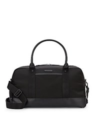 Cole Haan Leather Trimmed Nylon Canvas Duffle Bag Black