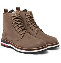 Moncler New Vancouver Shearling Lined Suede And Shell Boots Brown