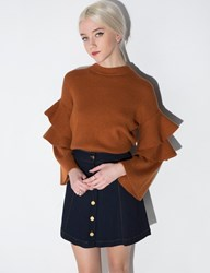 Pixie Market Brown Ruffled Sleeve Sweater