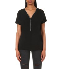 The Kooples Zipped Crepe Top Black