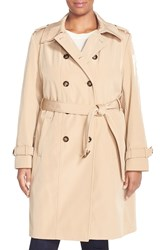 Calvin Klein Double Breasted Trench Coat Plus Size Khaki