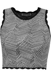 Opening Ceremony Cropped Striped Jersey Top Black
