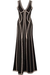 Herve Leger Lineisey Stretch Pointelle Knit Gown Black