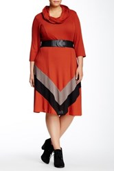 Robbie Bee Eternity Scarf Belted Dress Plus Size Multi